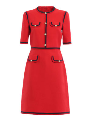 Gucci: knee length dresses - Web wool and silk dress