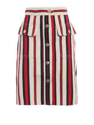 Gucci: Knee length skirts & Midi - Button detail striped denim skirt
