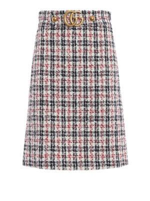 GUCCI: gonne al ginocchio  e longuette - Gonna ad A in tweed scozzese