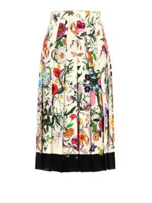 Gucci: Knee length skirts & Midi - Flora Snake silk pleated skirt