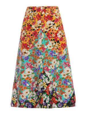 Gucci: Knee length skirts & Midi - Floral print wool blend skirt