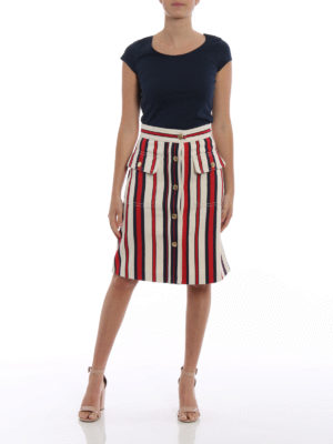 Gucci: Knee length skirts & Midi online - Button detail striped denim skirt