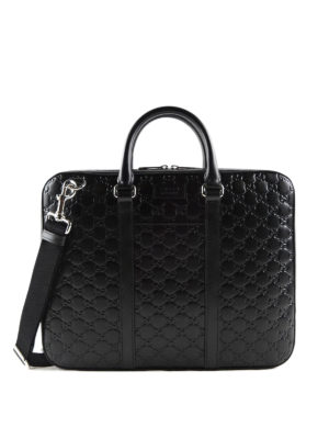 Gucci: laptop bags & briefcases - Signature leather small briefcase