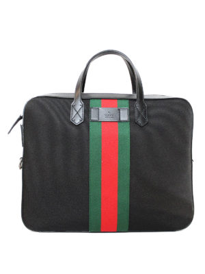 Gucci: laptop bags & briefcases - Web detailed canvas slim briefcase