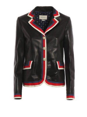 Gucci: leather jacket - Embroidered nappa leather blazer