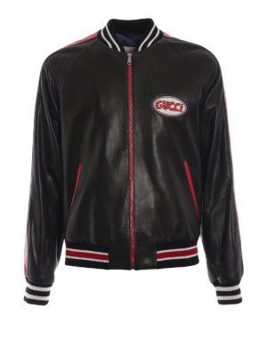GUCCI: giacche in pelle - Bomber in pelle con logo Gucci wave