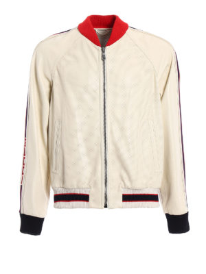 Gucci: leather jacket - Logo perforated leather bomber