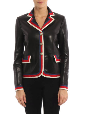 Gucci: leather jacket online - Embroidered nappa leather blazer