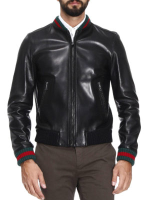 Gucci: leather jacket online - Web detail leather bomber jacket