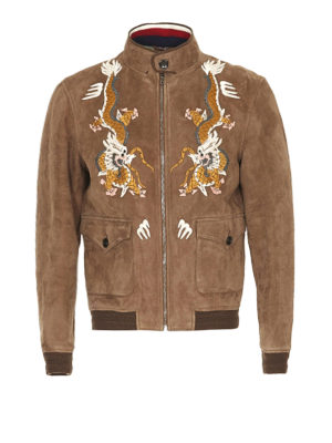 Gucci: leather jacket - Suede embroidered bomber jacket