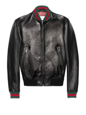 Gucci: leather jacket - Web detail leather bomber jacket