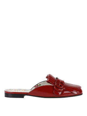 Gucci: Loafers & Slippers - GG detail patent slippers