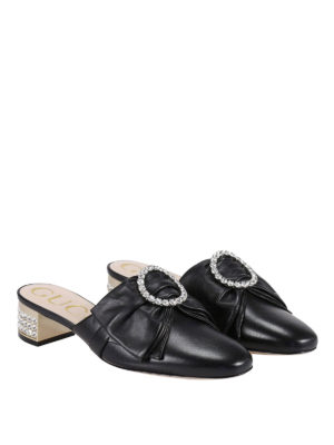 Gucci: Loafers & Slippers online - Embellished bow leather slippers