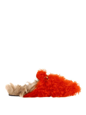Gucci: Loafers & Slippers - Princetown bicolour furry slippers
