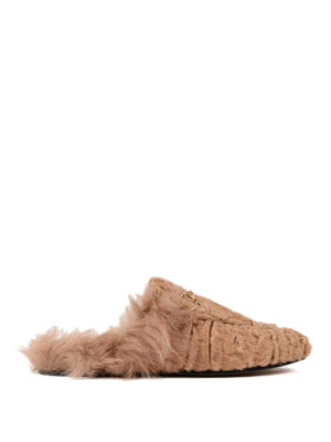 Gucci: Loafers & Slippers - Princetown lamb fur slippers