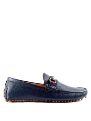 Gucci: Loafers & Slippers - Web and horsebit driver loafers
