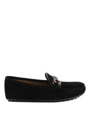 Gucci: Loafers & Slippers - Web detail suede driver loafers