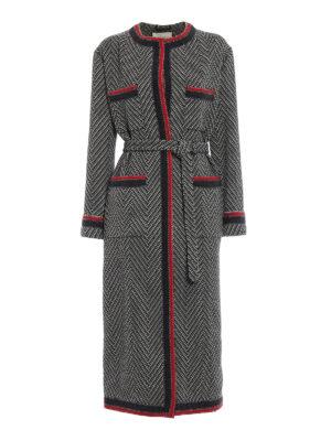 GUCCI: cappotti lunghi - Cappotto in tweed di lana motivo chevron