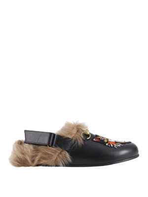 Gucci: mules shoes - Angry cat fur trim leather slippers