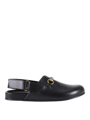Gucci: mules shoes - Horsebit leather slippers