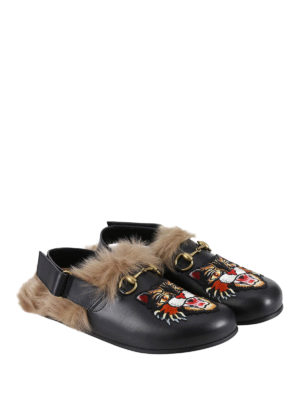 Gucci: mules shoes online - Angry cat fur trim leather slippers