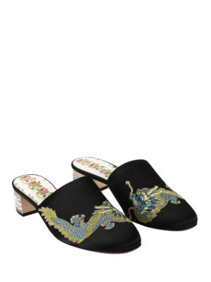 Gucci: mules shoes online - Candy embroidered suede mules