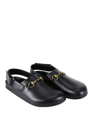 Gucci: mules shoes online - Horsebit leather slippers