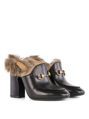Gucci: mules shoes online - Princetown real fur lined mules
