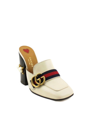 Gucci: mules shoes online - Signature Web leather mules