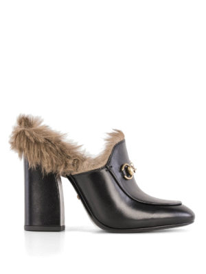 Gucci: mules shoes - Princetown real fur lined mules