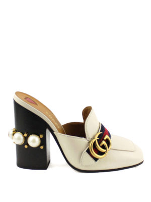 Gucci: mules shoes - Signature Web leather mules