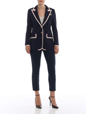 GUCCI: giacche blazer online - Giacca in cady con profili in gros grain