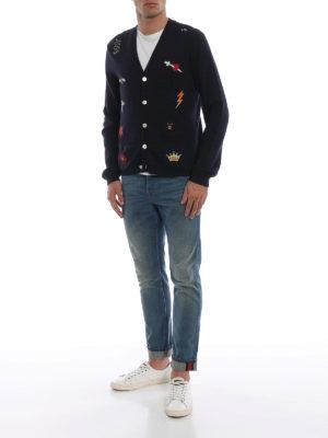 GUCCI: cardigan online - Cardigan stile preppy in lana blu con ricami