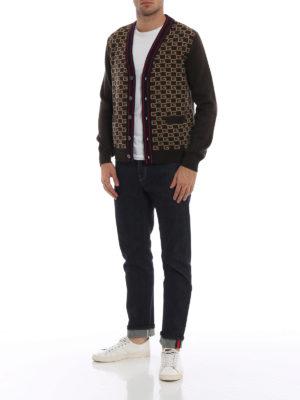 GUCCI: cardigan online - Cardigan in lana con GG a intarsia