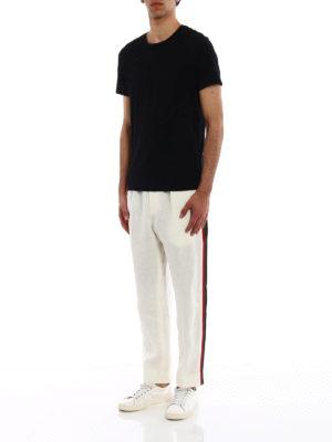 GUCCI: pantaloni casual online - Pantaloni in lino con gros grain