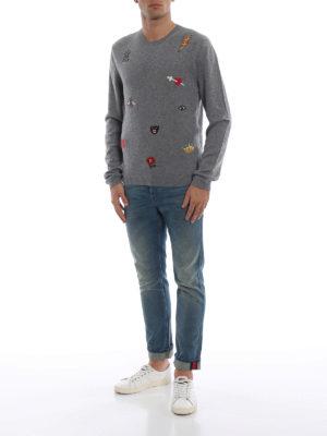 GUCCI: maglia collo rotondo online - Girocollo grigio in lana con ricami