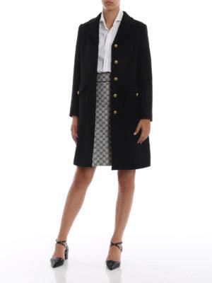 GUCCI: cappotti al ginocchio online - Cappotto in lana con martingala GG oro