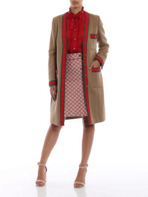 GUCCI: cappotti al ginocchio online - Cappotto in camello con dettagli Web