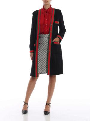 GUCCI: cappotti al ginocchio online - Cappotto vestaglia con dettagli Web
