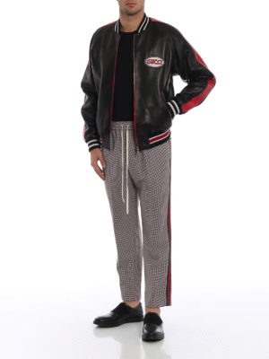 GUCCI: giacche in pelle online - Bomber in pelle con logo Gucci wave