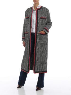 GUCCI: cappotti lunghi online - Cappotto in tweed di lana motivo chevron