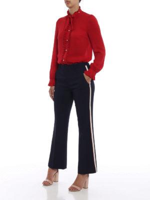 GUCCI: camicie online - Blusa in seta con volant e perle