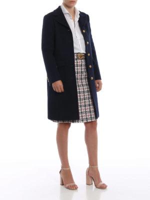 GUCCI: cappotti corti online - Cappotto ad A in panno di lana blu scuro