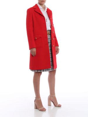 GUCCI: cappotti corti online - Cappotto ad A in panno di lana rosso