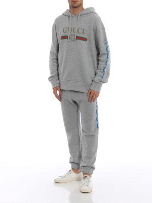 GUCCI: Felpe e maglie online - Felpa in cotone grigio ricamo dragone