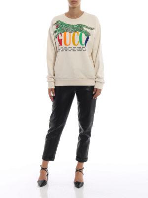GUCCI: Felpe e maglie online - Felpa oversize con stampa e paillettes