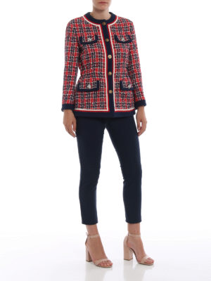 GUCCI: giacche sartoriali online - Giacca sciancrata in tweed scozzese