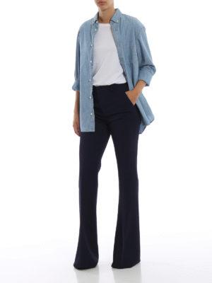 GUCCI: Pantaloni sartoriali online - Pantaloni svasati blu scuri in crepe