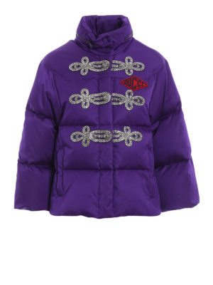 GUCCI: giacche imbottite - Piumino corto viola con alamari in strass