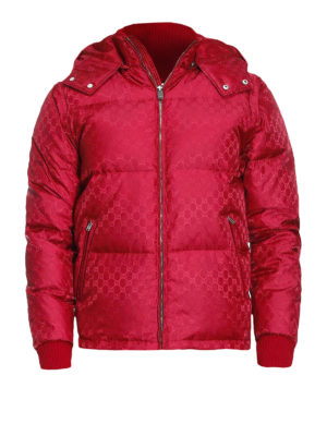 Gucci: padded jackets - GG jacquard red nylon puffer jacket